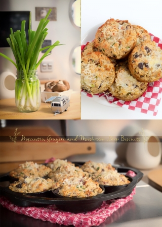 Gruyere, Prosciutto and Green Onion Drop Biscuits