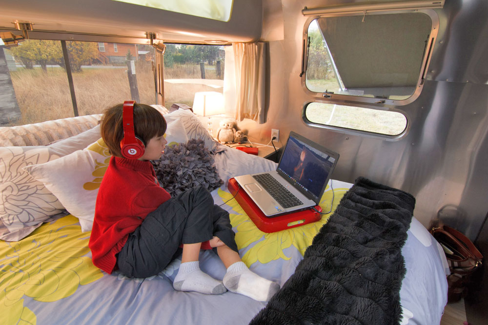 Inside an Airstream Travel Trailer, Airstream Travel Trailer Modern Interiors,  Decorating a Trailer, Decorating an Airstream Travel Trailer, RV Kitchen, RV Decorating, Airstream Travel Trailer Kitchen, RV Cooking, Airstream Cooking, Airstream Cuisine, Airstream Bedroom, Trailer Bedrom, RV Bedroom
