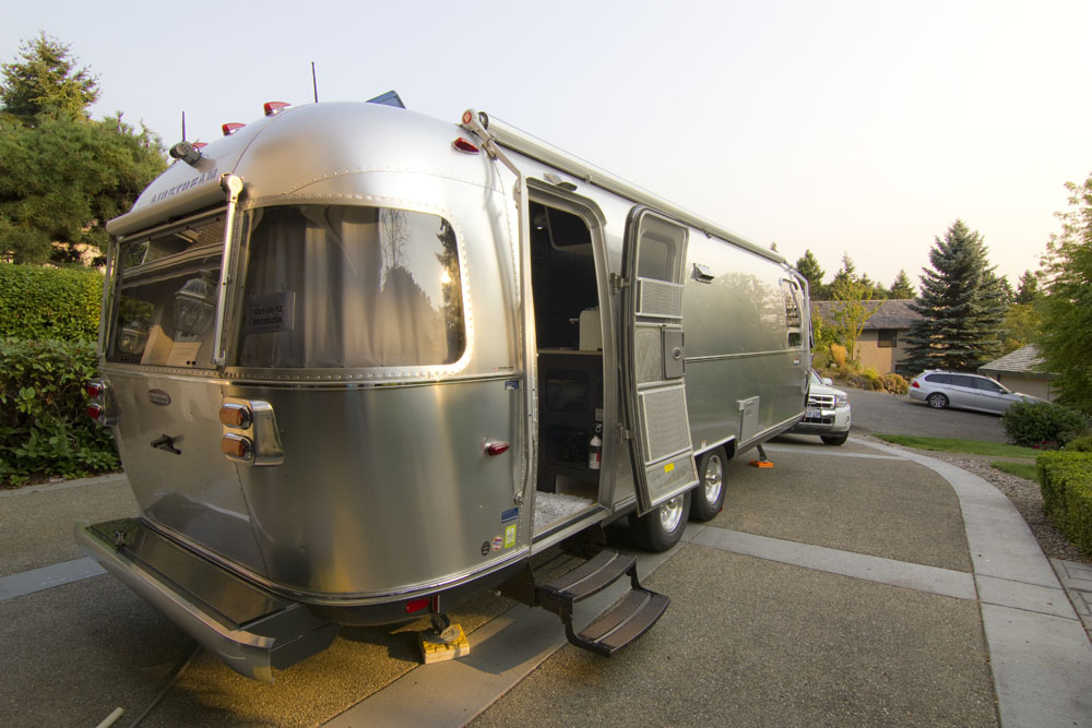 Inside an Airstream Travel Trailer, Airstream Travel Trailer Modern Interiors,  Decorating a Trailer, RV Kitchen, RV Decorating, Airstream Travel Trailer Kitchen