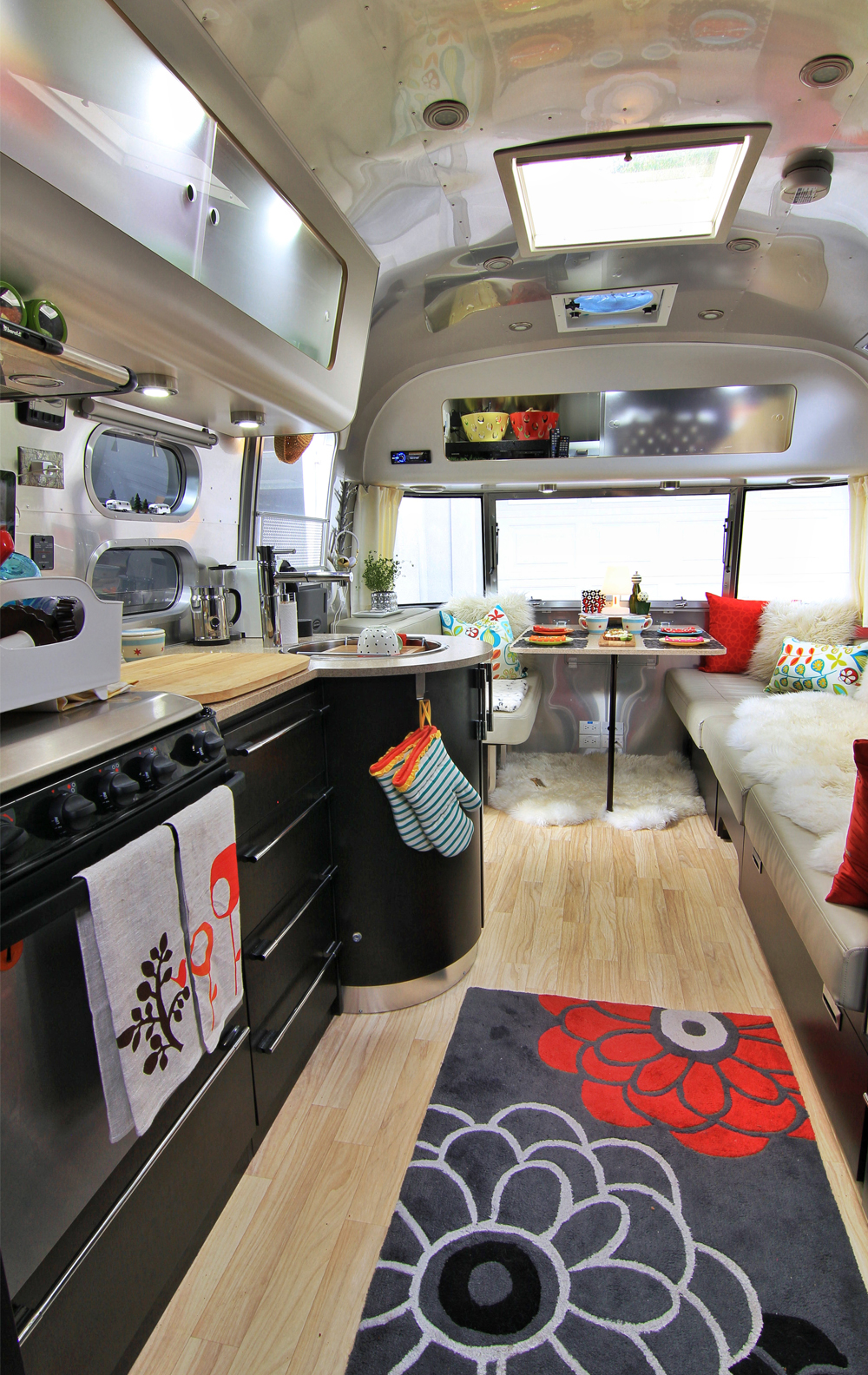 A View of the Airstream inside facing the dinette