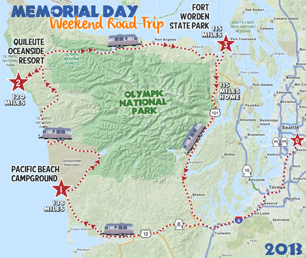 Airstream trailer road trip and glamping around the Olympic National Park