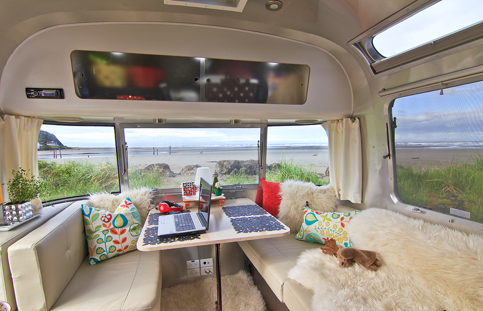 View from the inside of our Airstream towards Pacific Beach in Washington State
