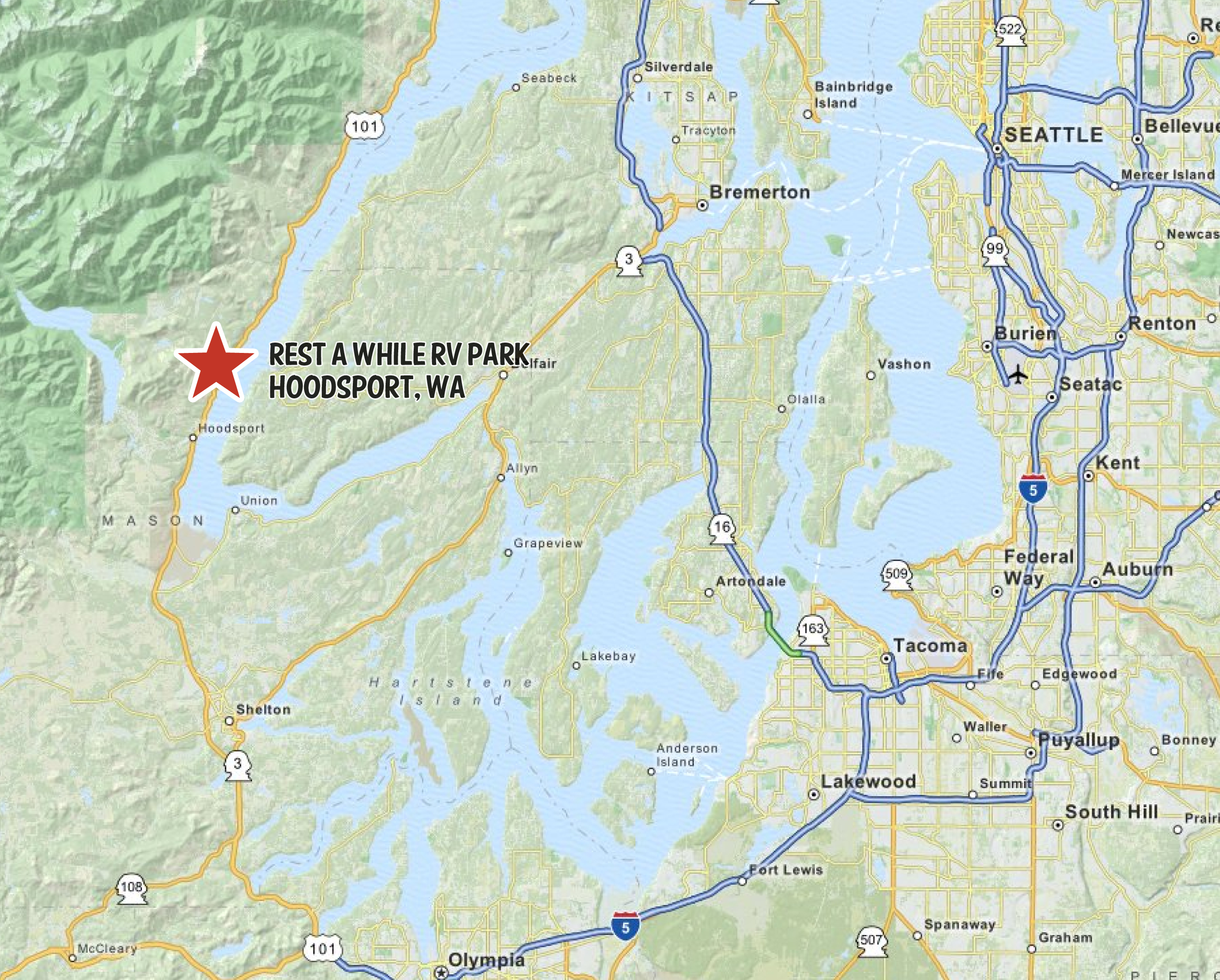 Map of Rest a While RV Resort in Hoodsport, WA