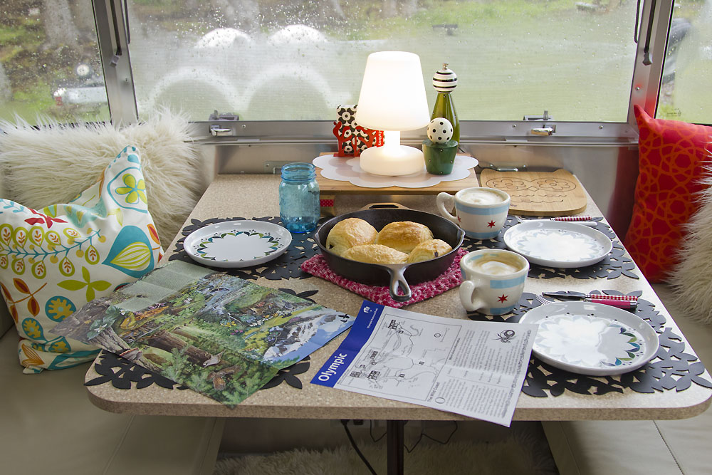 Breakfast spread on our Airstream table