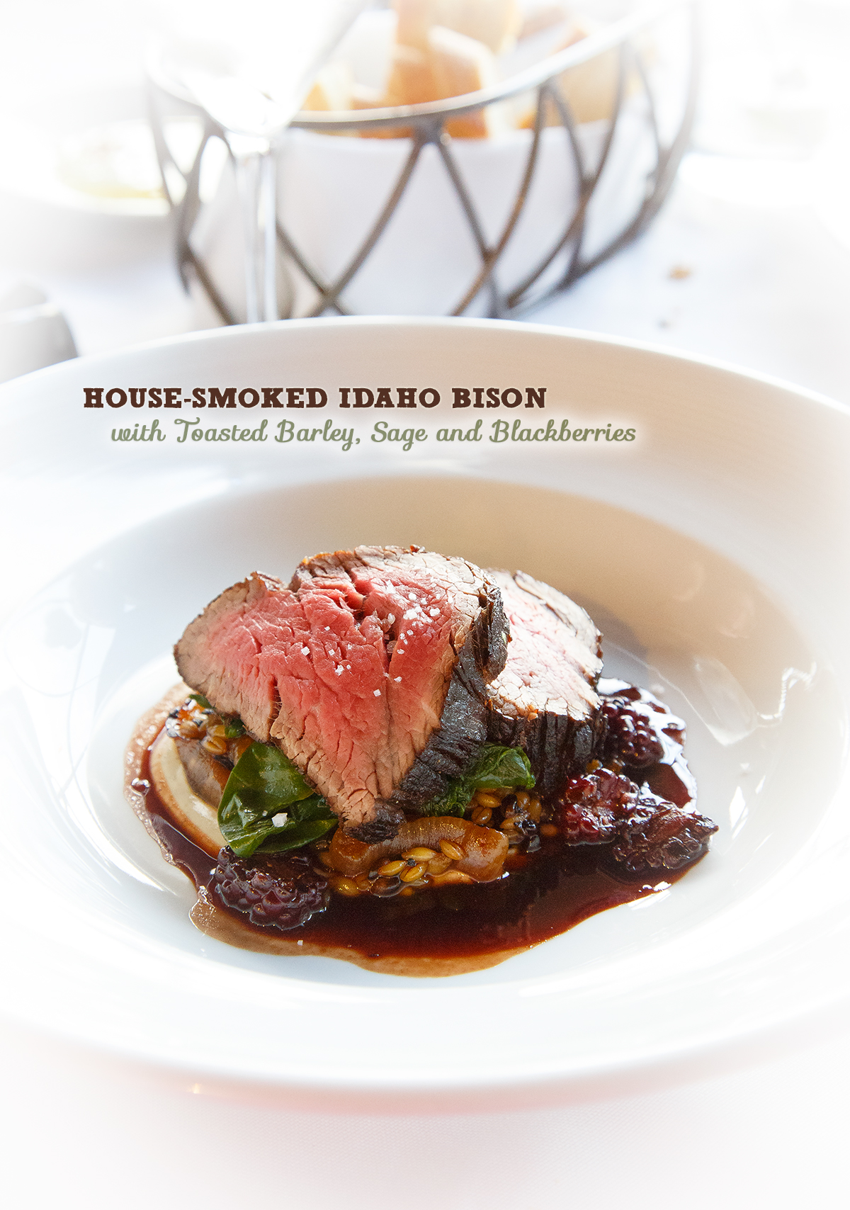 HOUSE-SMOKED IDAHO BISON from the Couloir Restaurant in Jackson, WY