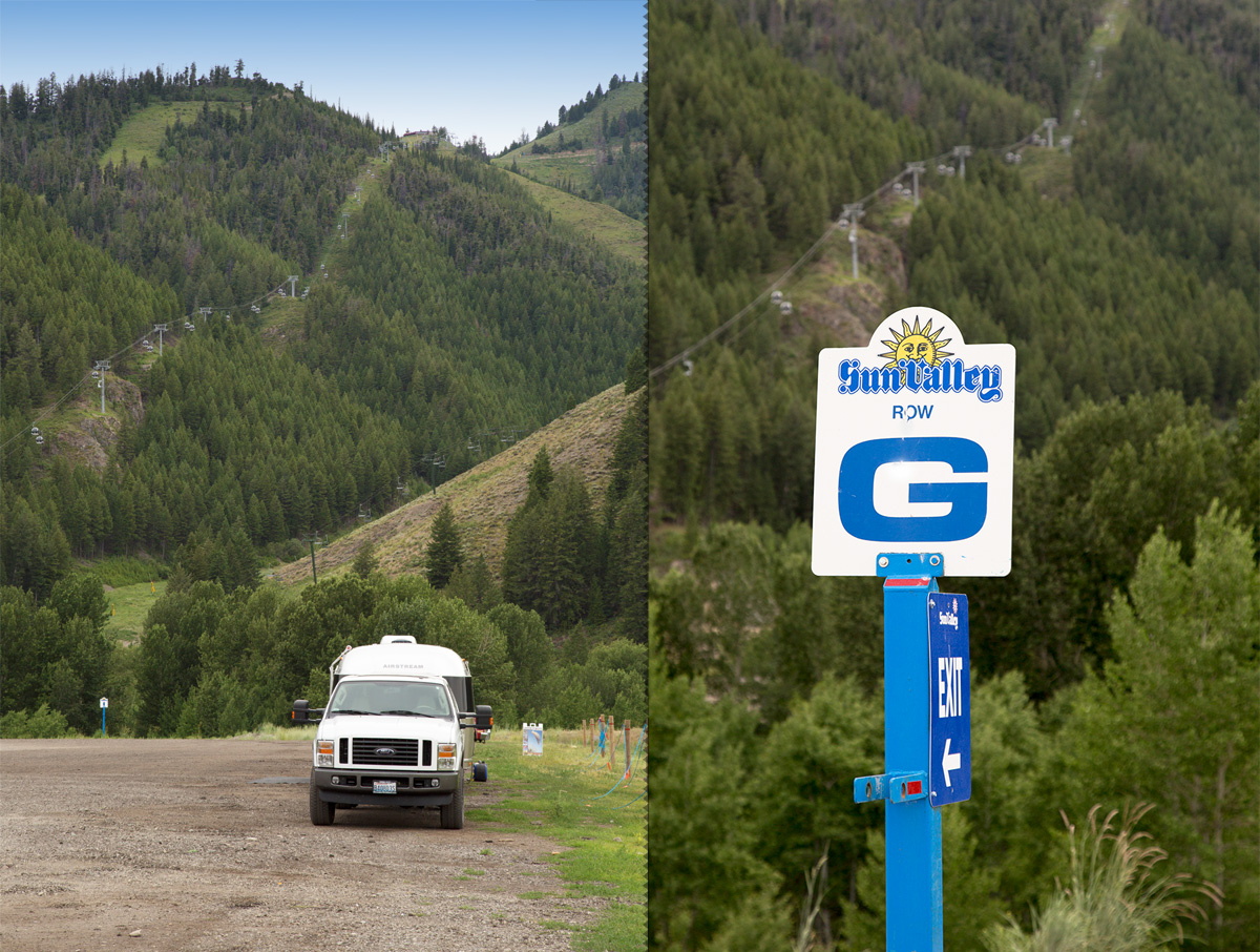 Sun Valley Ski Parking Lot with our Airstream Travel Trailer