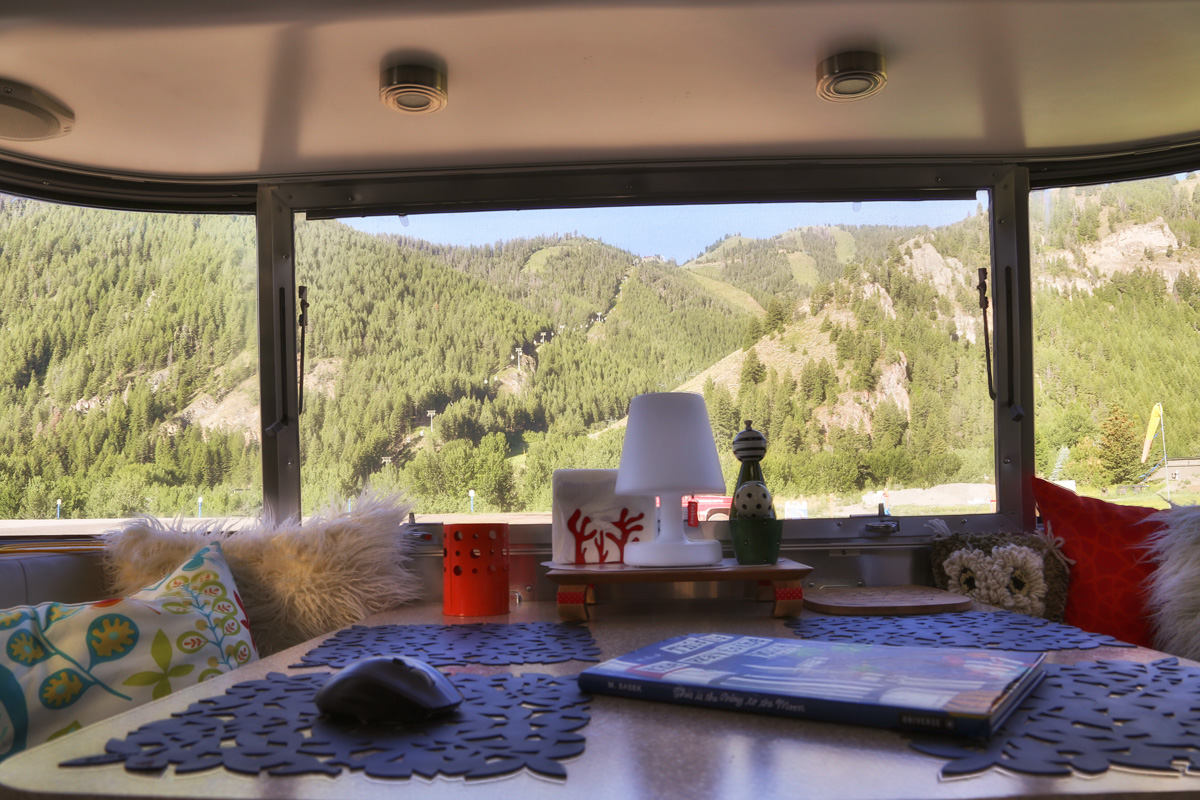 view of Sun Valley Ski Resort from our Airstream Travel Trailer