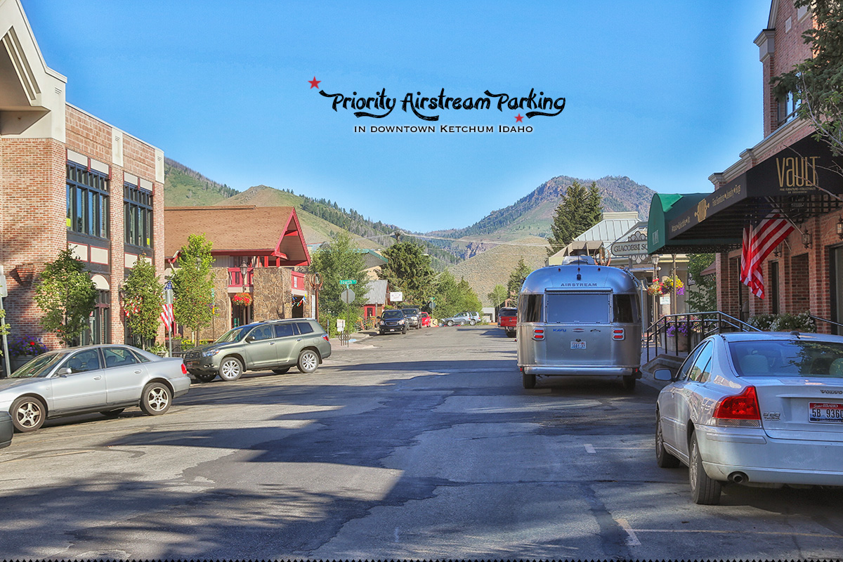 downtown Ketchum, ID with our Airstream travel trailer