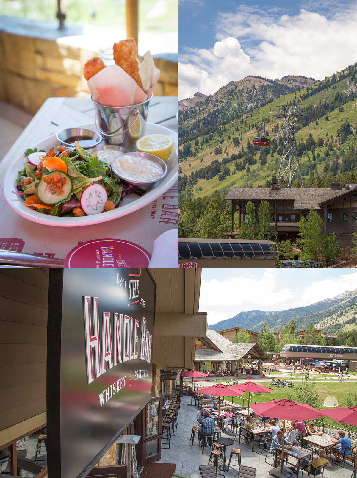 The Four Seasons Resort in Jackson Hole, Wyoming and the Handle Bar Restaurant right