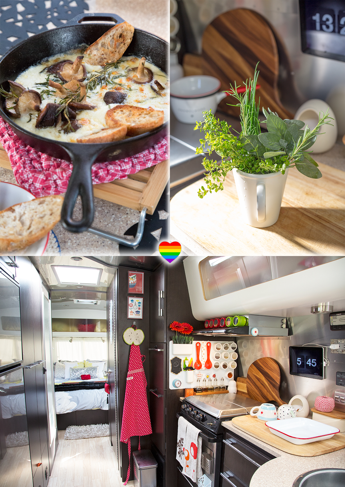 melty mozzarella and mushrooms for dinner on the Airstream