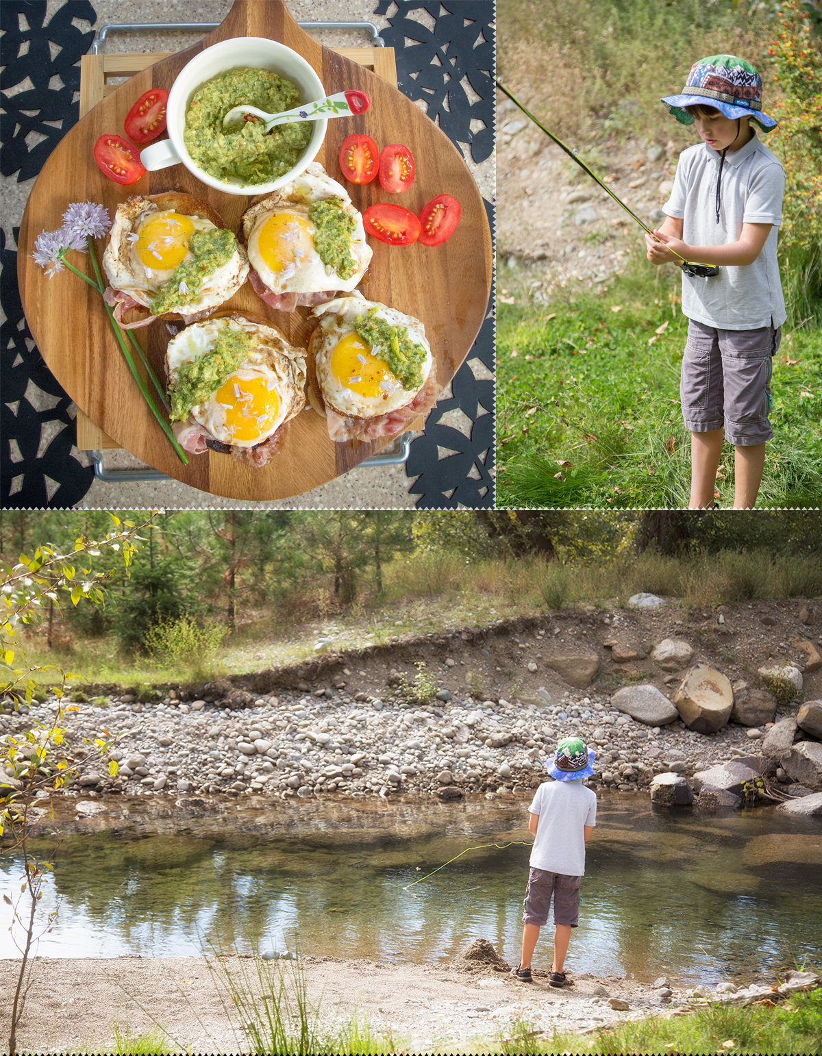 breakfast and fishing with our Airstream travel trailer in beautiful Roslyn, washington