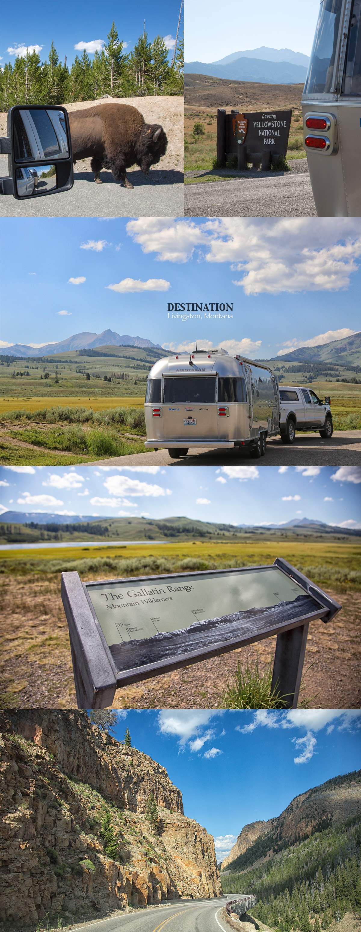Leaving Yellowstone National Park at the North Entrance with our Airstream