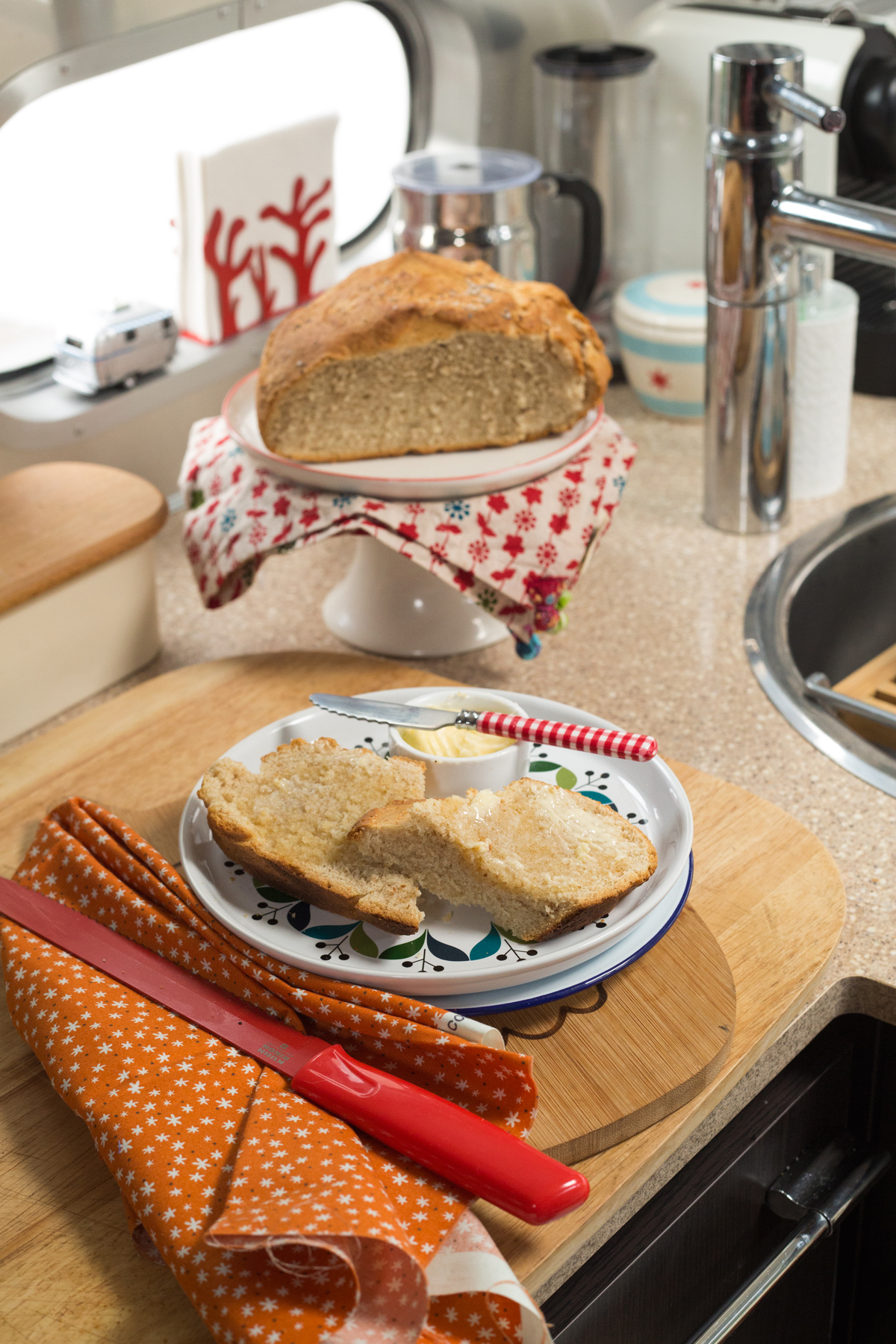 An Airstream Kitchen with Fresh Baked Bread