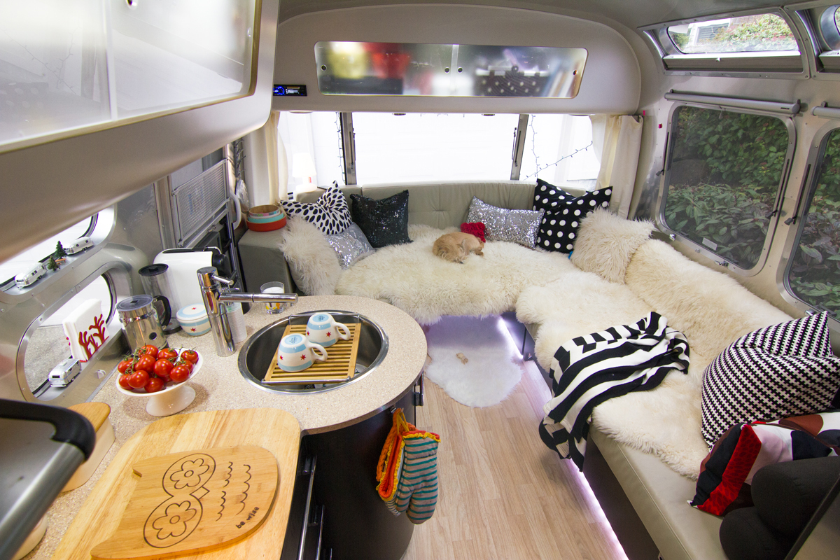Airstream lounge and kitchen