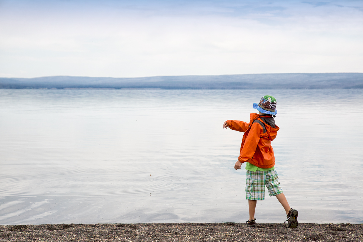 B skipping stones on Yellowstone Lake