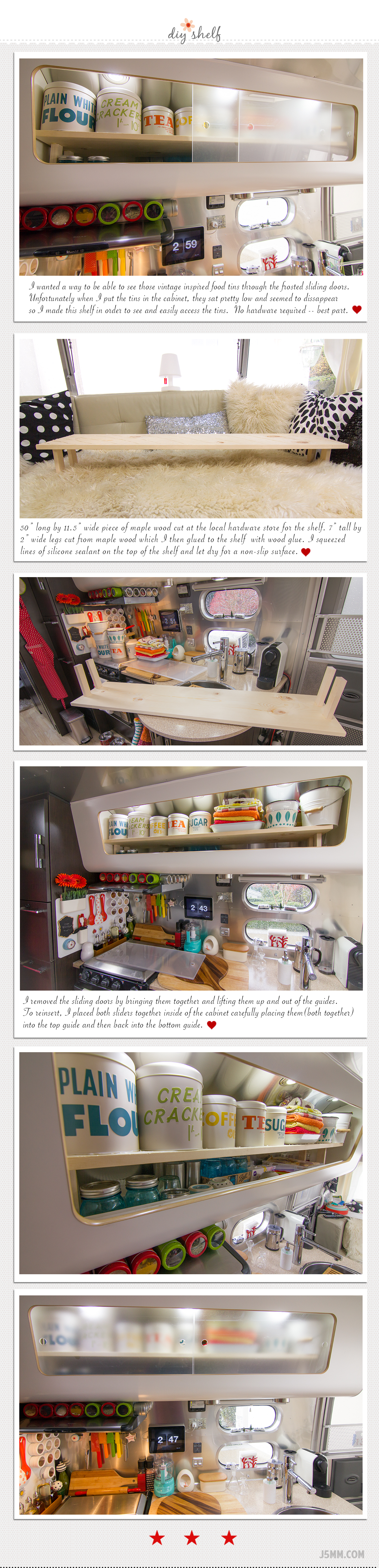 No hardware required - easy shelf for your rv / trailer kitchen via J5MM.com
