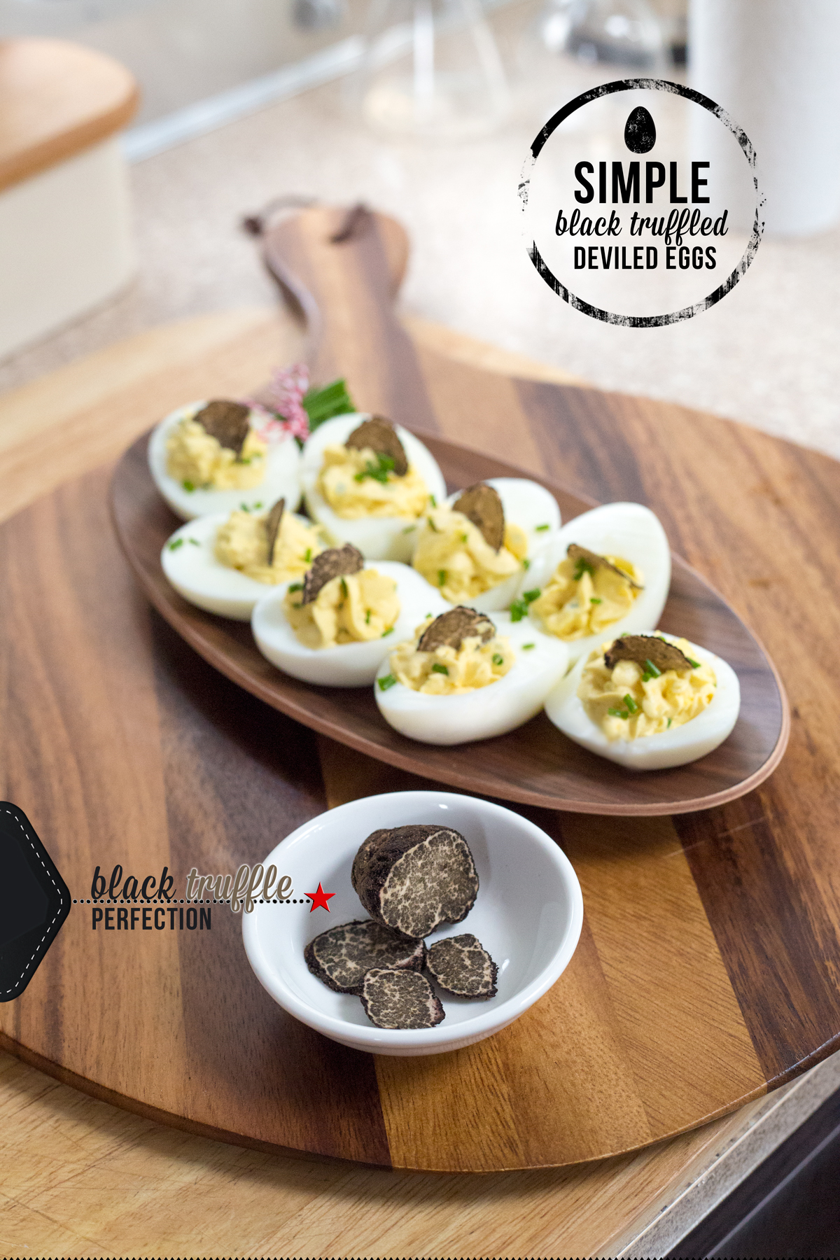 Black Truffled Deviled Eggs via J5MM.com