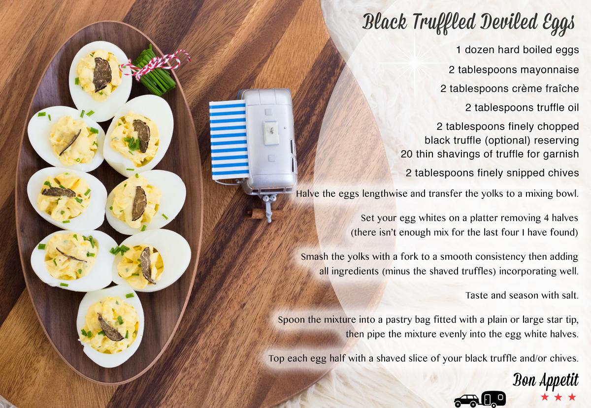 Black Truffled Deviled Eggs via J5MM.com