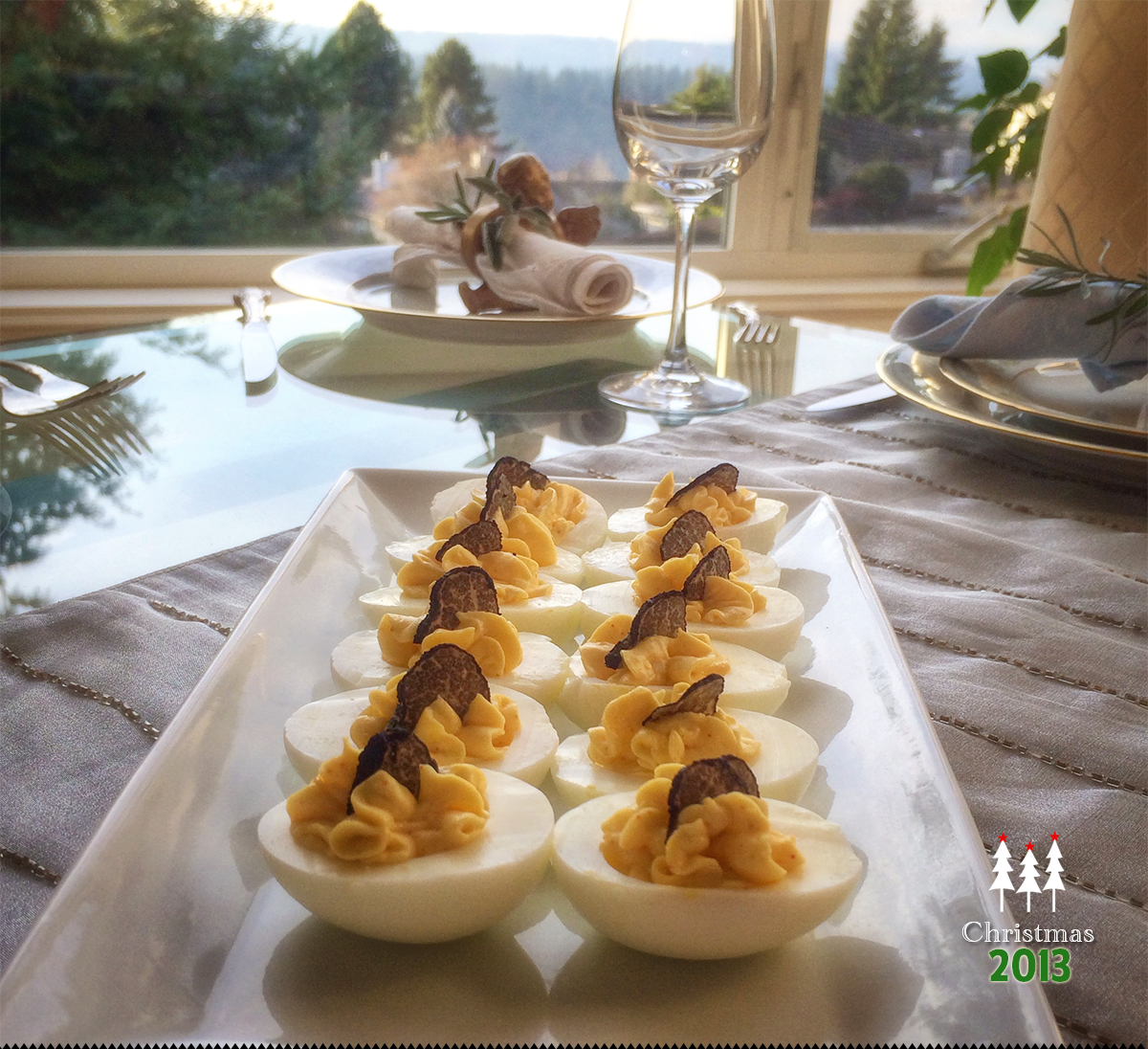 Black Truffle Deviled Eggs via J5MM.com