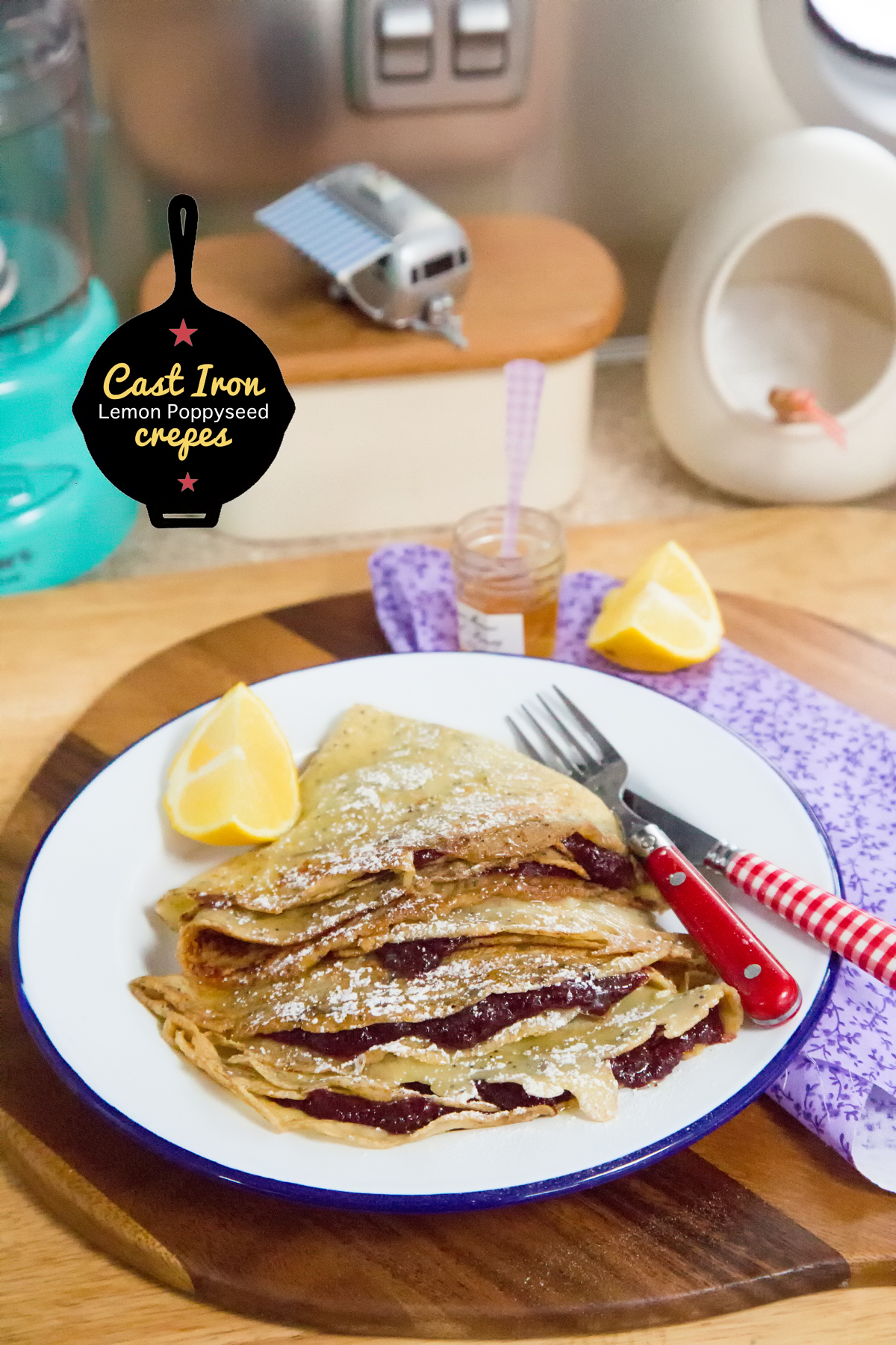 Lemon Poppyseed Honeyed Crepes via J5MM.com