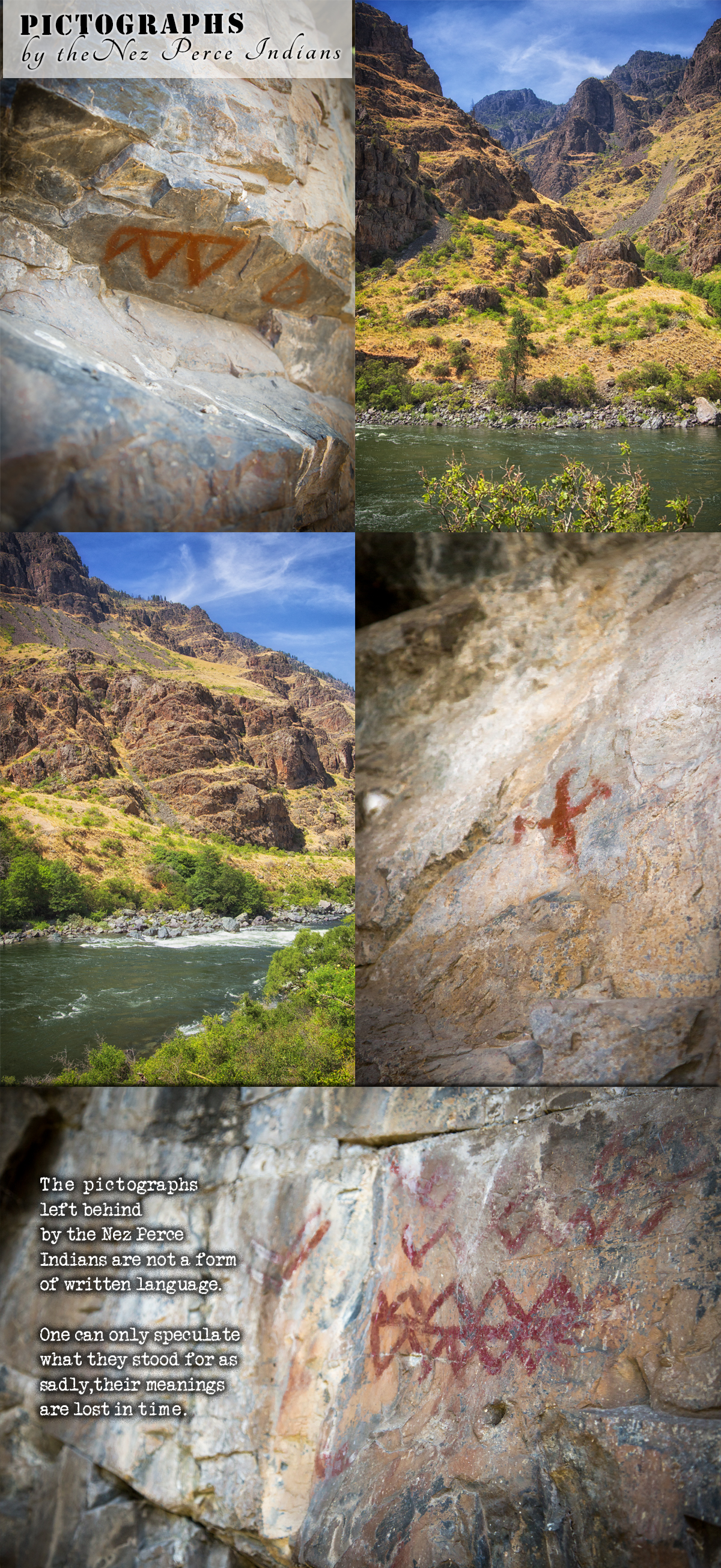 Nez Perce Indians Pictographs in Hells Canyon along the Snake River with Hells Canyon Raft and Kurt and Heidi Armacost via J5MM.com