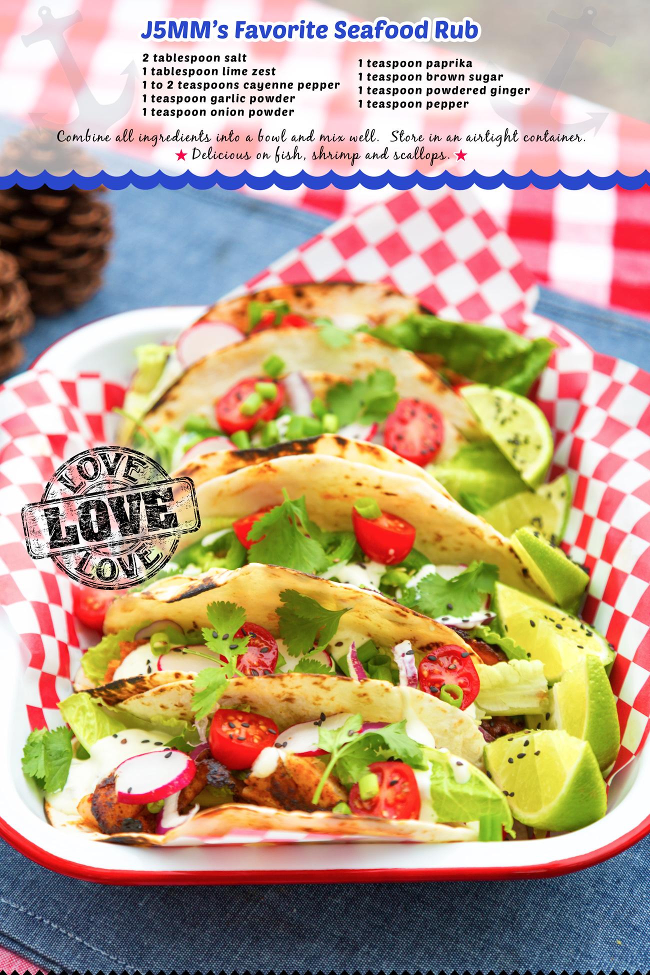 Best Seafood Rub via J5MM.com // Fish Tacos // Glamping Cuisine