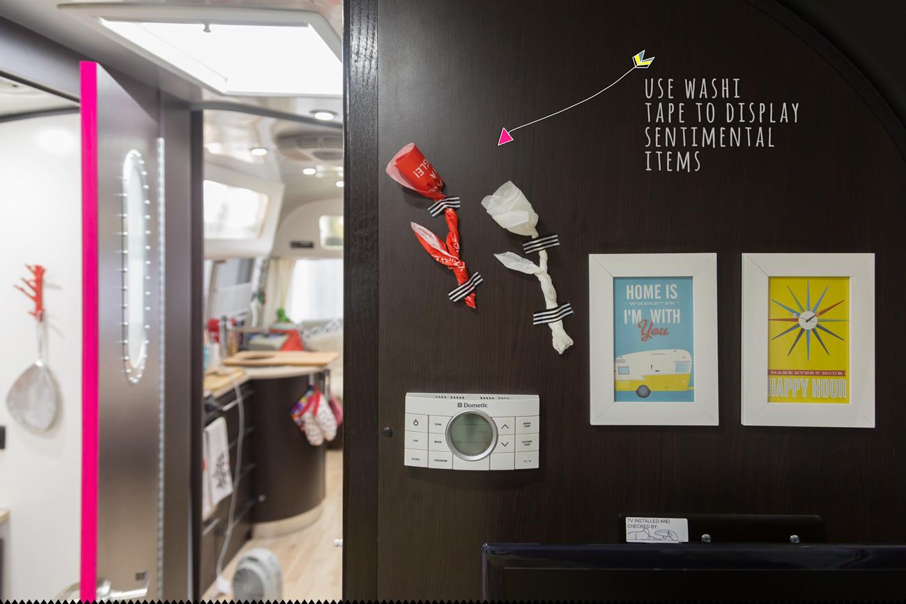 Washi Tape Door Accent via J5MM.com // RV Lifestyle #Airstream Style