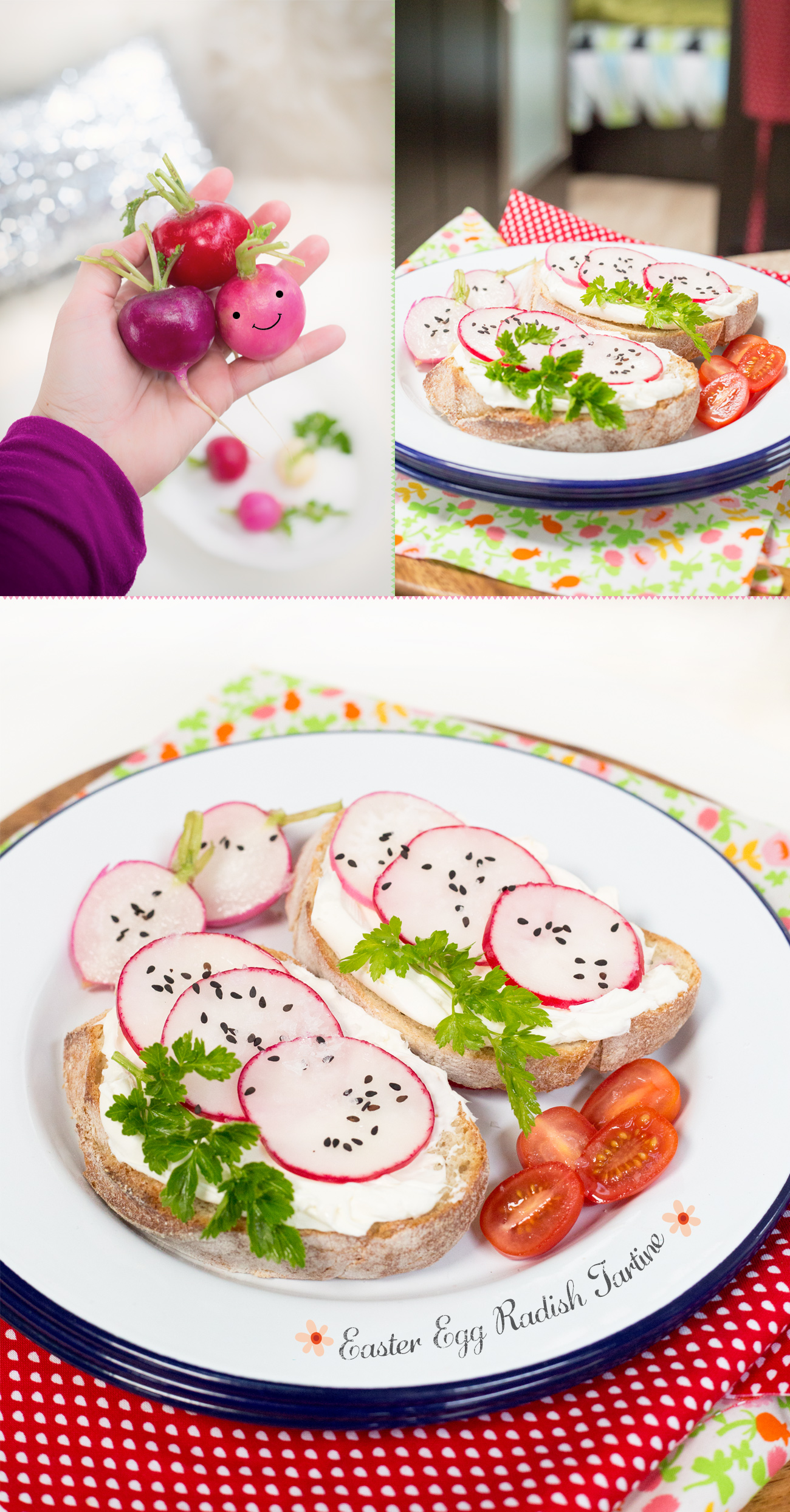 Easter Egg Radish Tartine via J5MM.com