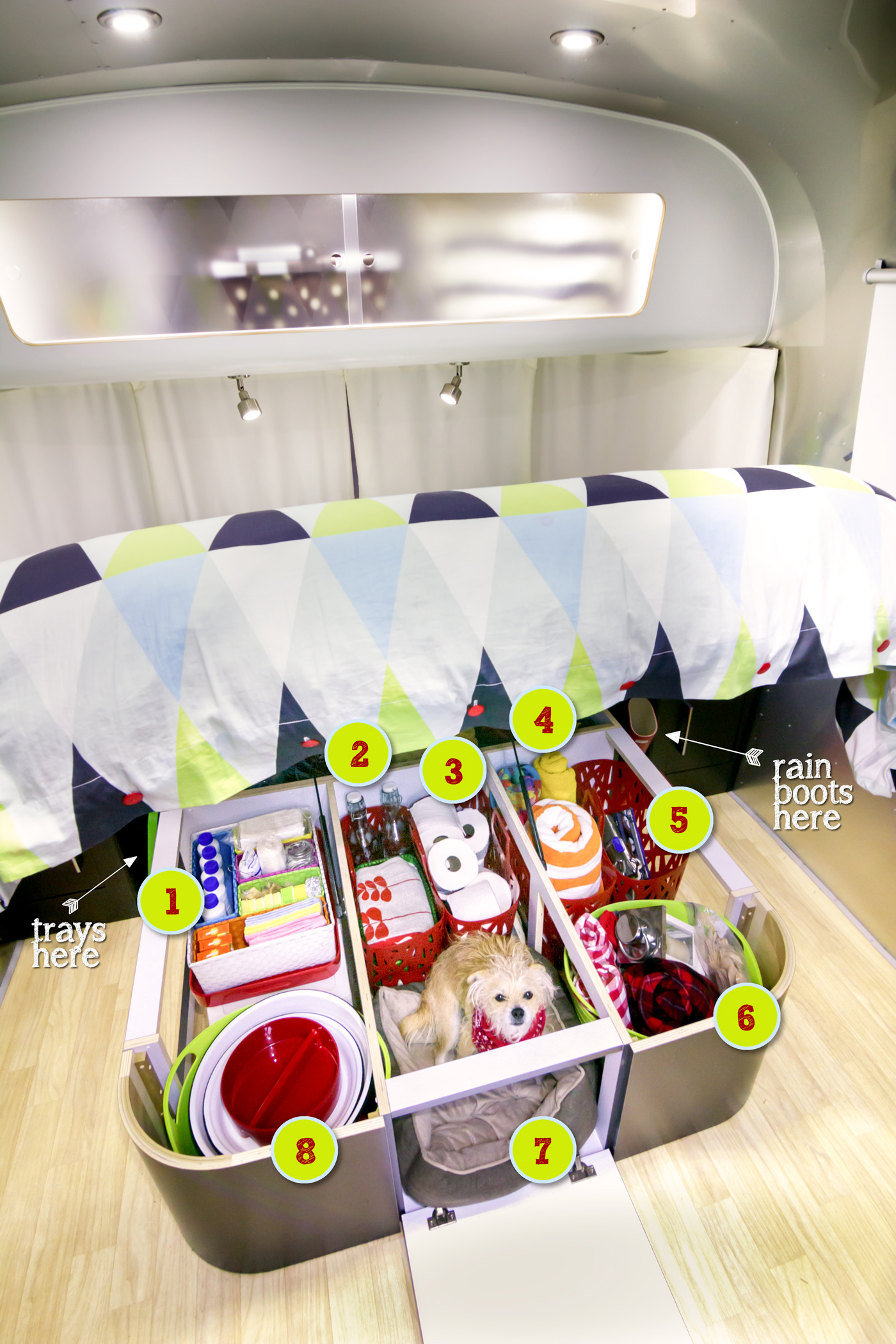 Under Bed Storage Organization on the Airstream  via J5MM.com // RV Lifestyle #Airstream Style