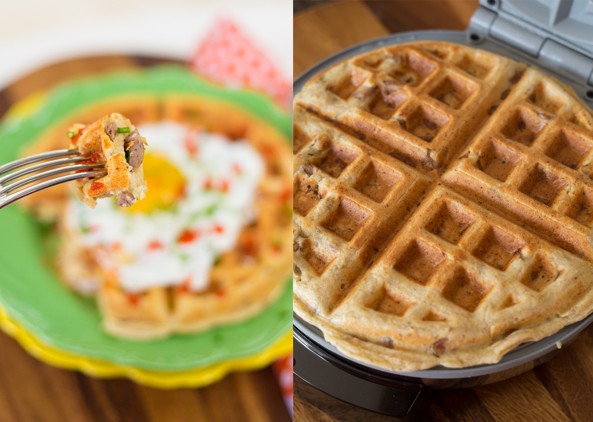 Cornmeal & Sausage Waffles via J5MM.com // #Airstream