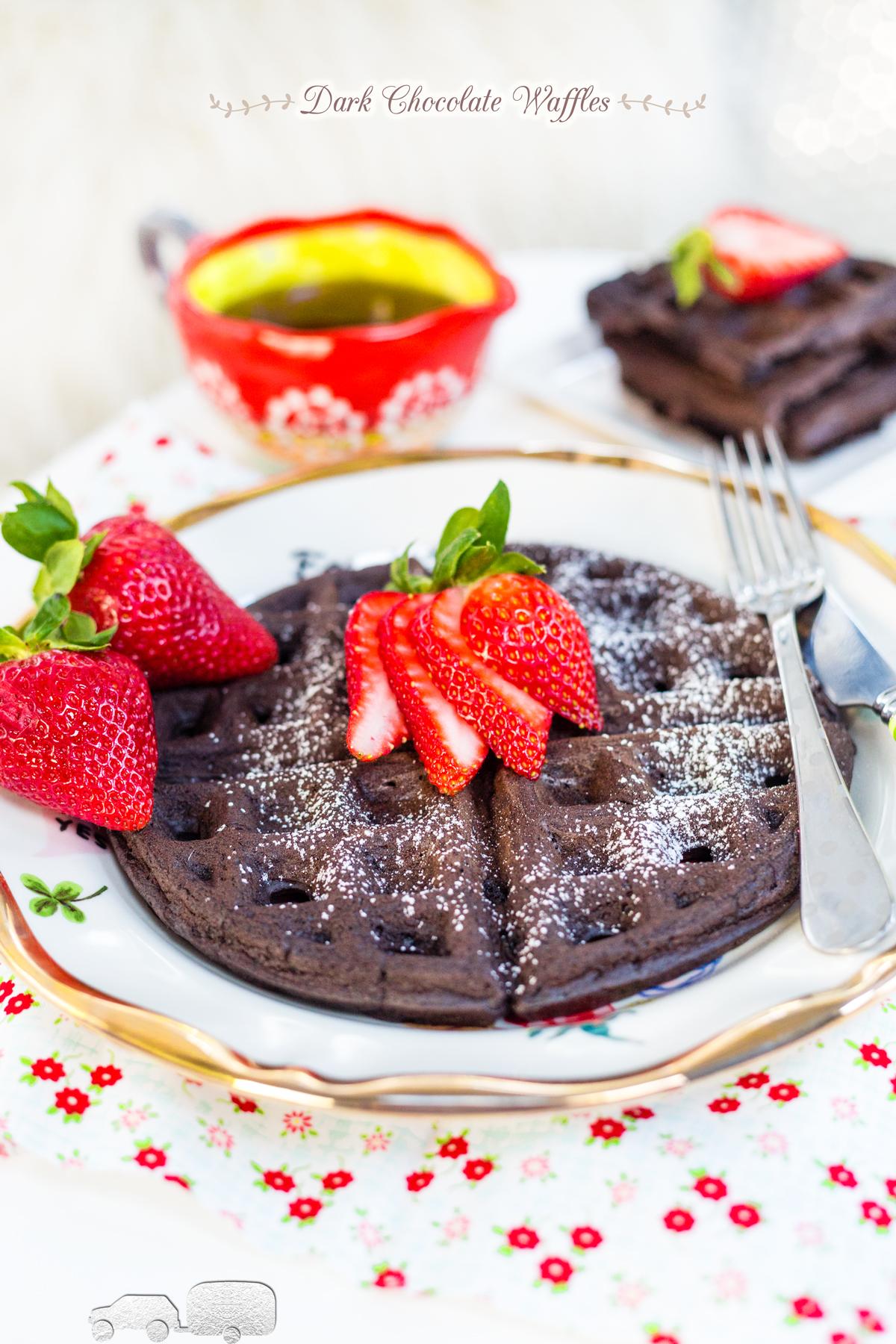 Dark Chocolate Waffles via J5MM.com // #AirstreamKitchen