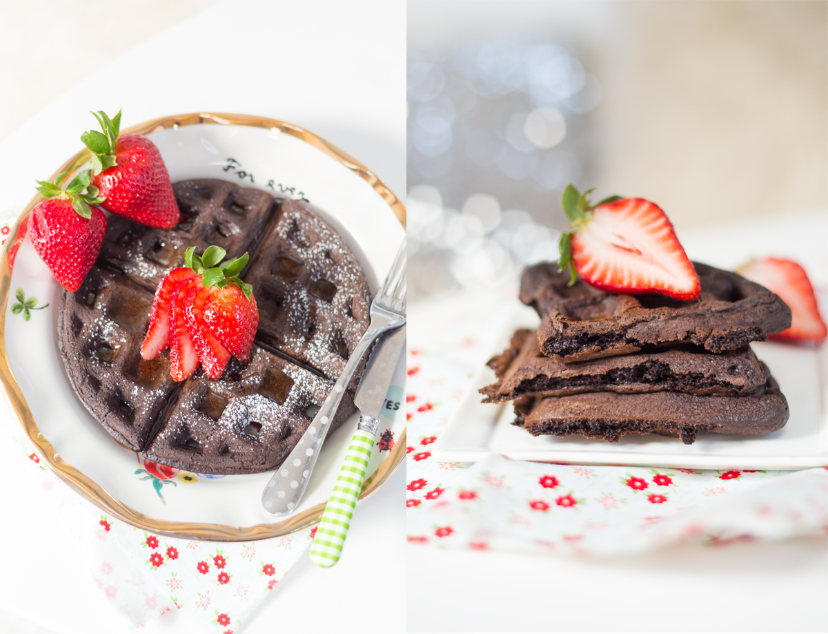 Dark Chocolate Waffles via J5MM.com // #AirstreamKitchen