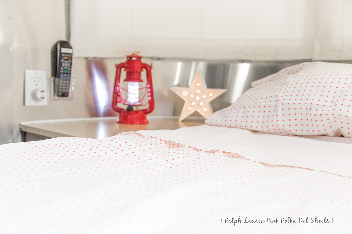 Ralph Lauren Pink Polka Dot Sheets via J5MM.com // #Airstream Spring Cleaning