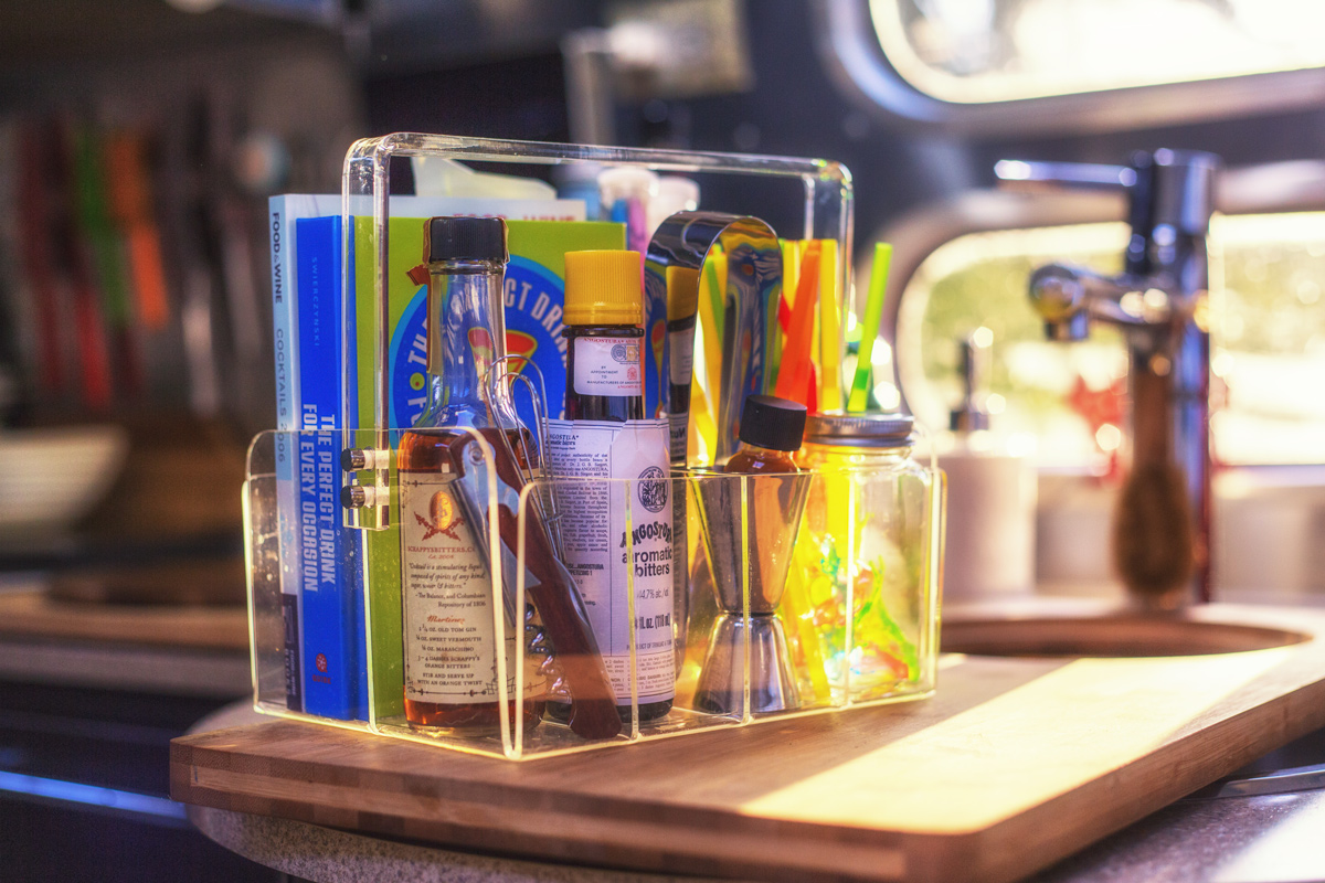 Utensil Caddy for Cocktail Accoutrements via J5MM.com // RV Lifestyle #Airstream Style