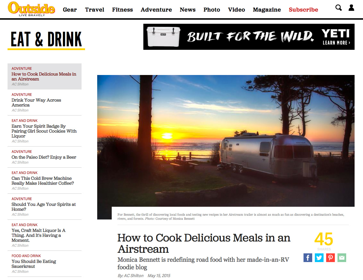How To Cool Delicious Meals in an Airstream via J5MM.com // #OutsideMagazine #Airstream