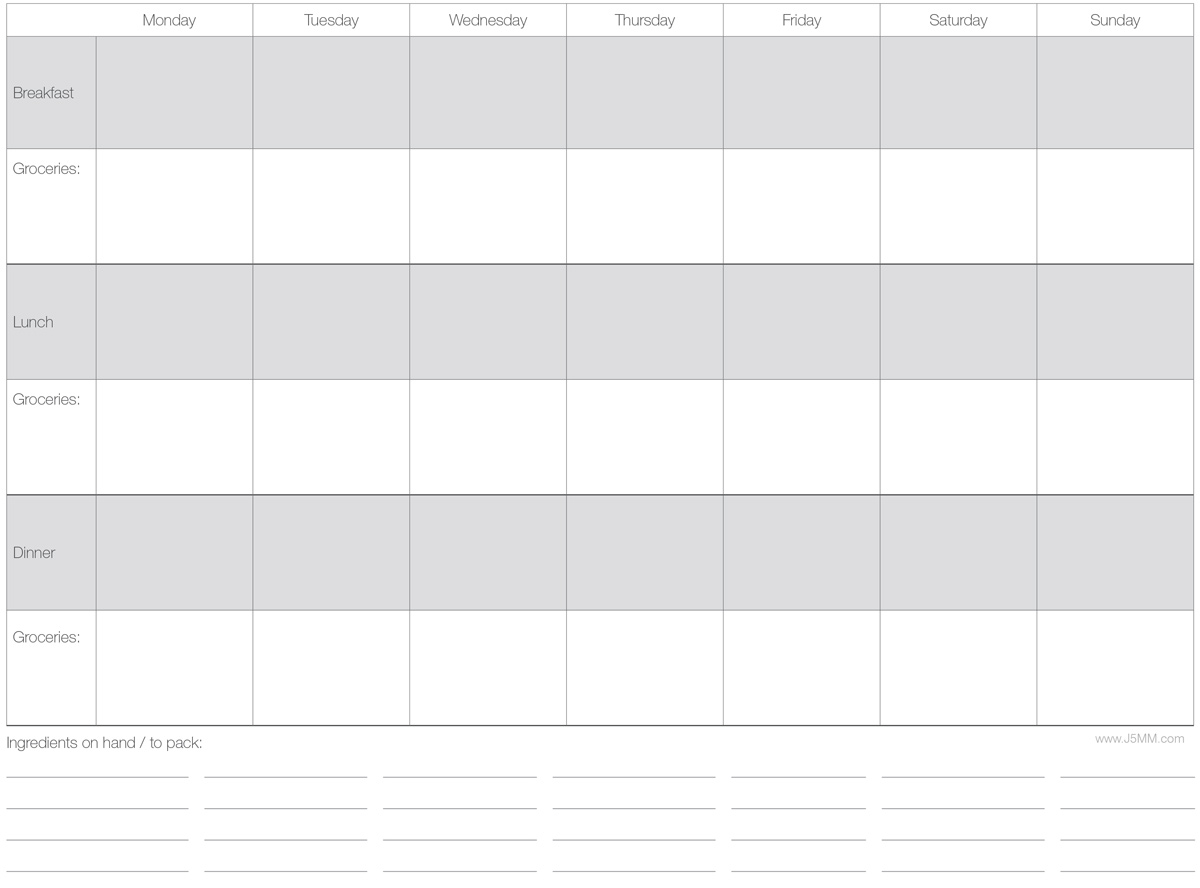 Free Download // Weekly Menu Planner via J5MM.com // #AirstreamLifeStyle