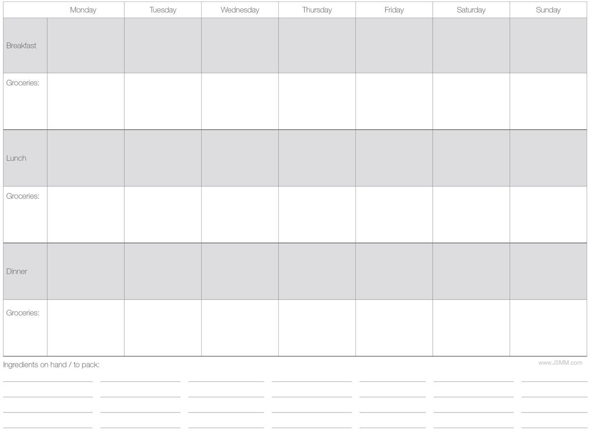 Free Download // Weekly Menu Planner via J5MM.com // #AirstreamLifeStyle