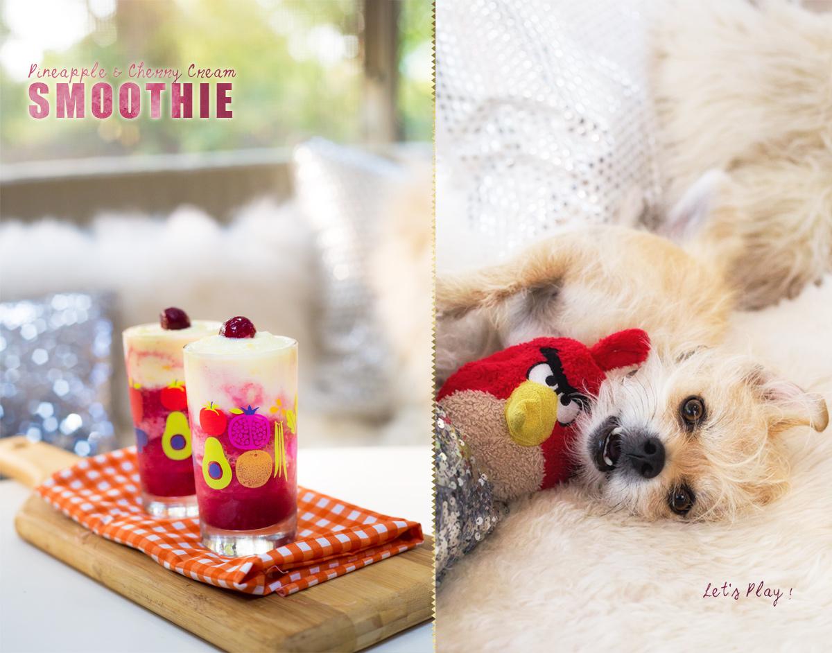 Pineapple & Cherry Cream Smoothie via J5MM.com