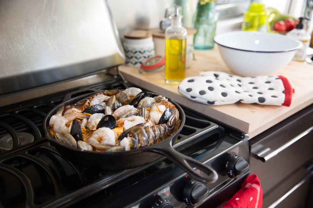 Airstream Kitchen - Easy Skillet Paella for GoRVing via J5MM.com